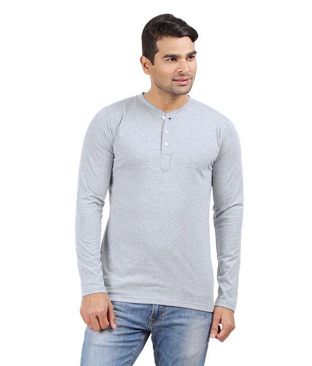 Hbhwear Mens Gray Melange Henley Full Sleeve T-shirt