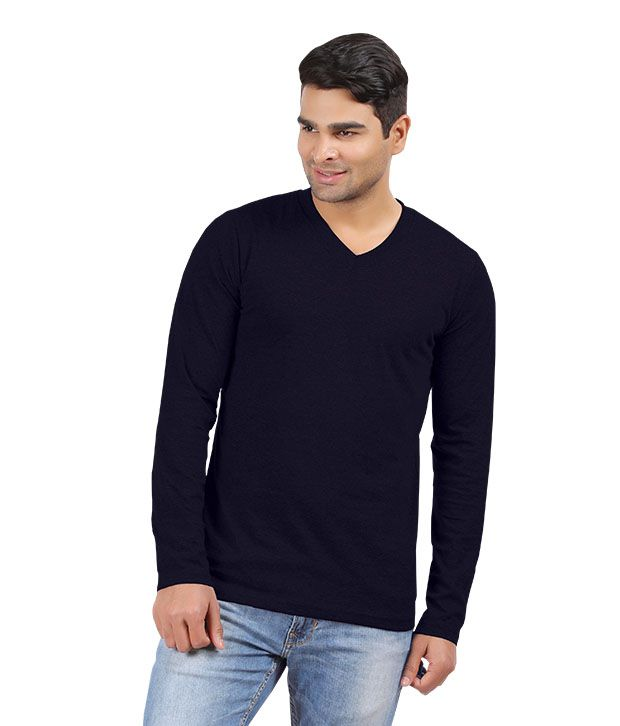 Hbhwear Mens Navy V-neck Full Sleeve T-shirt
