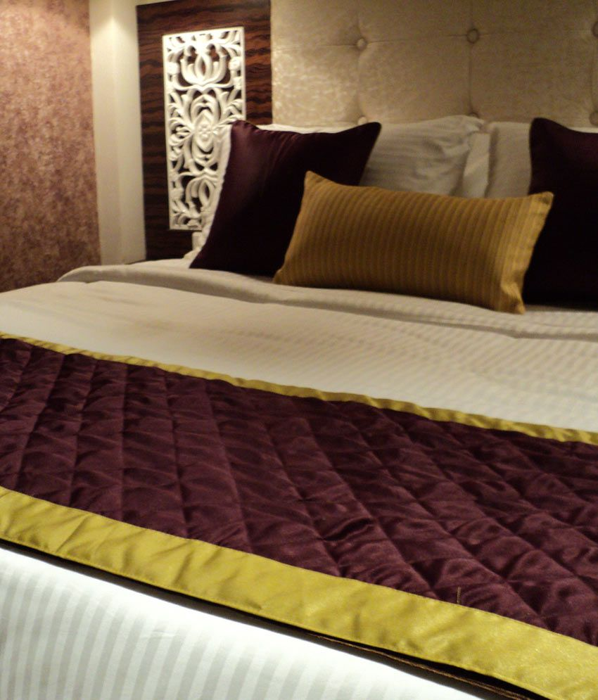 ivory red satin king size bed runner
