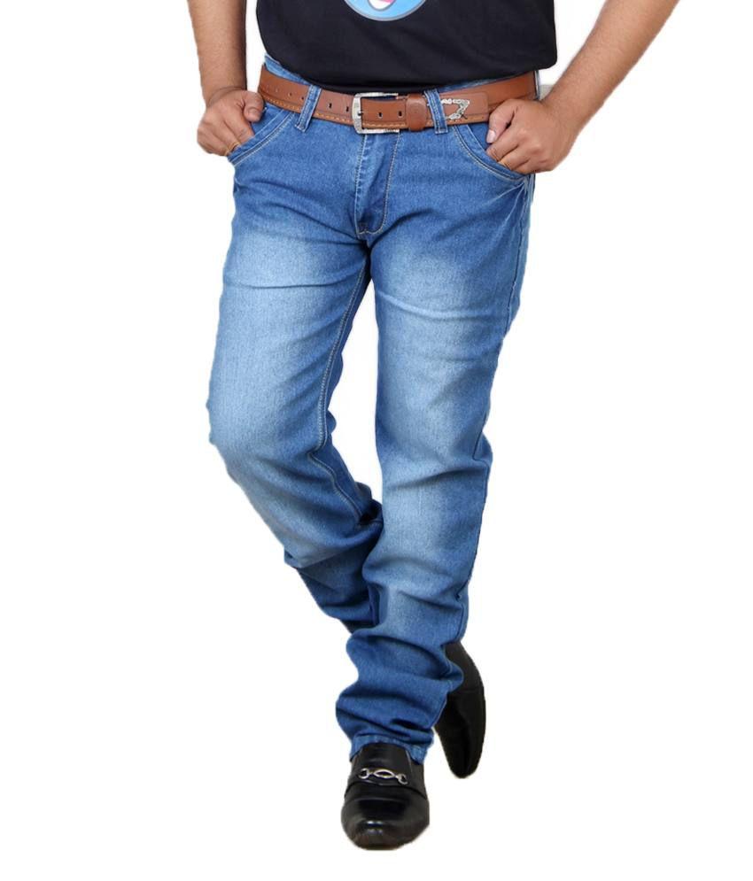 Acro Blue Cotton Regular Fit Faded Men Jeans