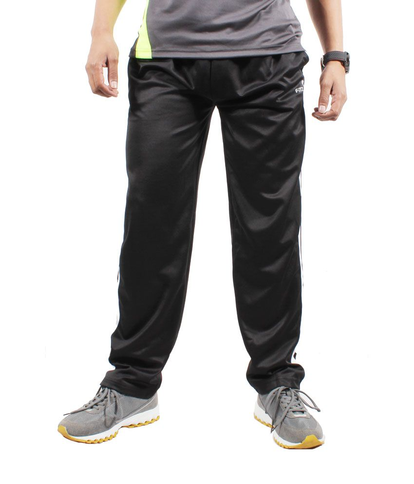 Fitz Black Polyester Comfortable Trackpant