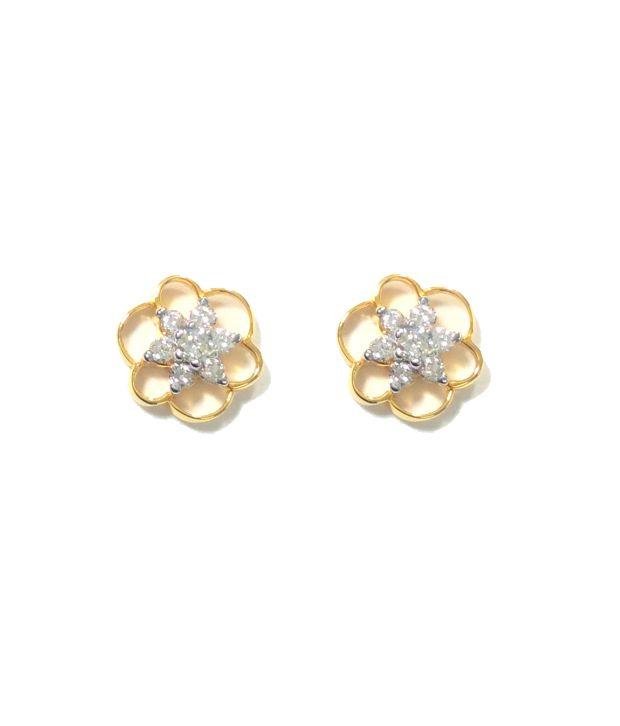 Kataria Jewellers BIS Hallmark 14kt Gold Diamond Studs Earrings