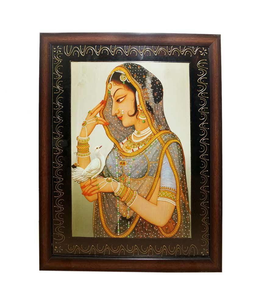 R S Jewels Rajasthani Bani Thani Ladies Gemstone Painting With Frame