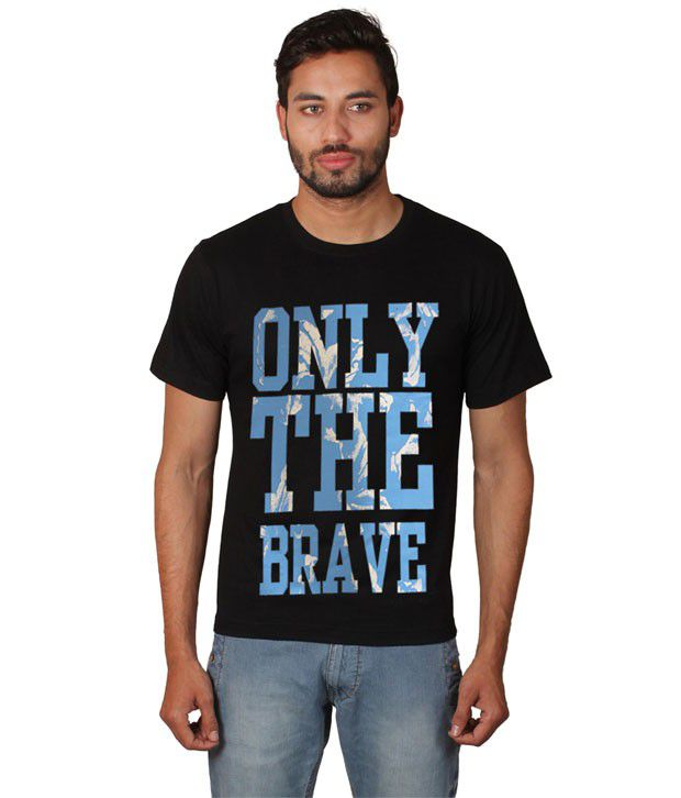 Zovogue Cotton Printed Men's Only The Brave Black T-shirt