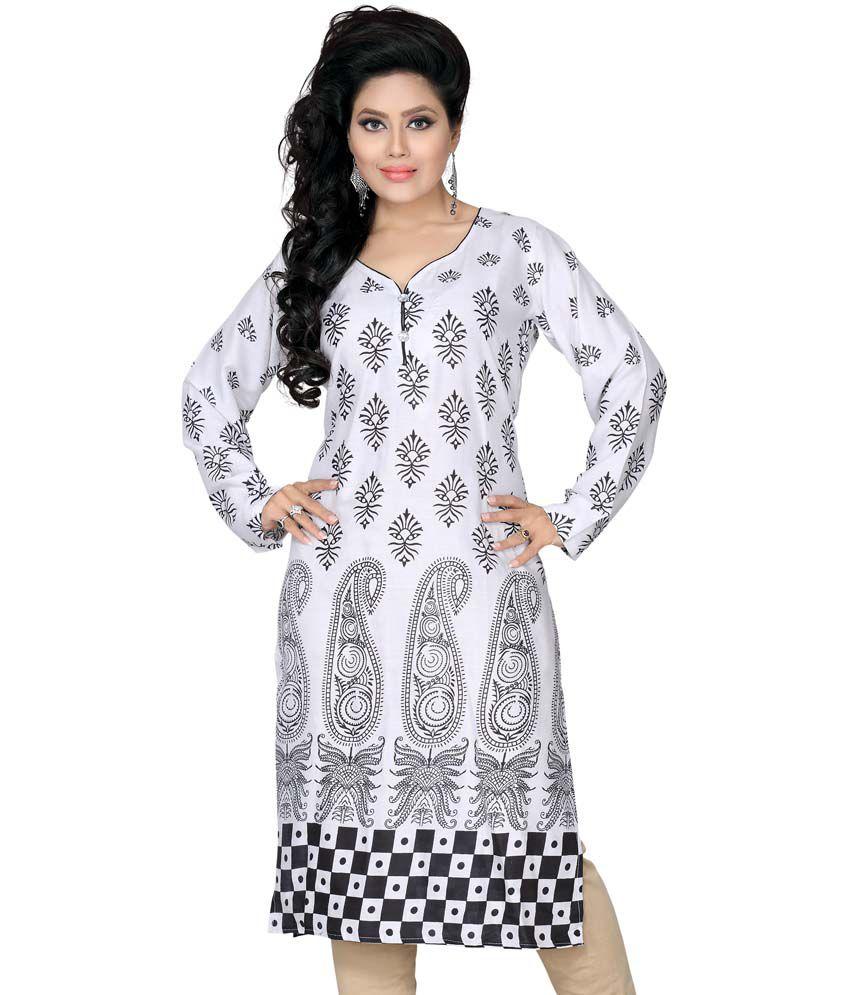 Aisha White Cotton Printed Round Neck Kurti
