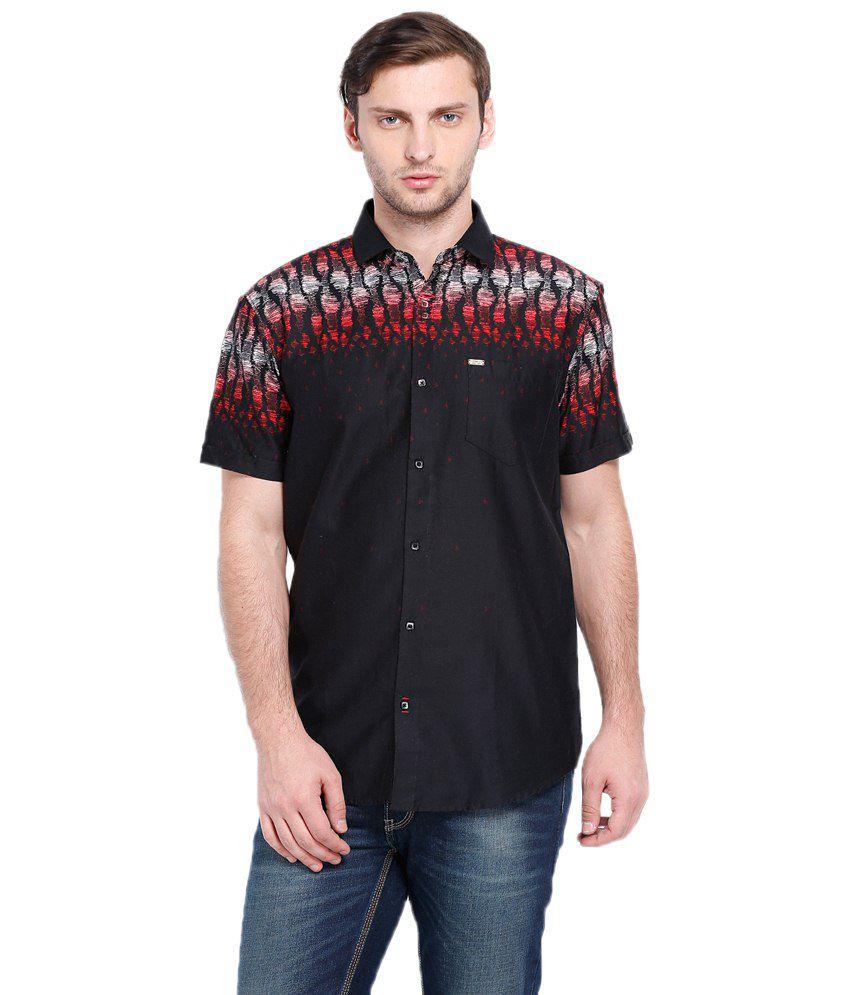 Locomotive Black & Red Printed Casual Cotton Shirt Slim Fit