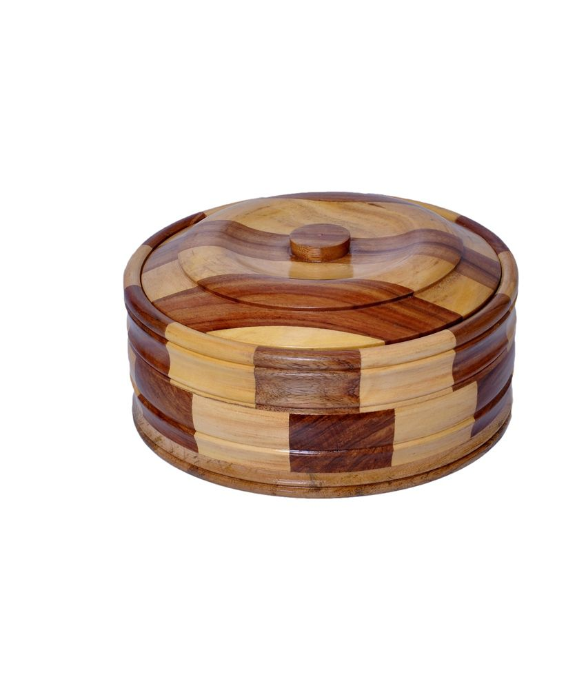 Woodenclave Classerole- A Chapati Box Wooden Food Container Set of 1