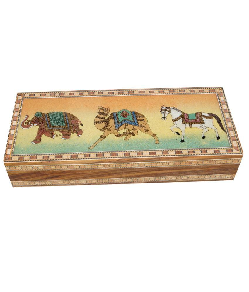 R S Jewels Elephant Horse Camel Gem Stone Painting Jewelry Box