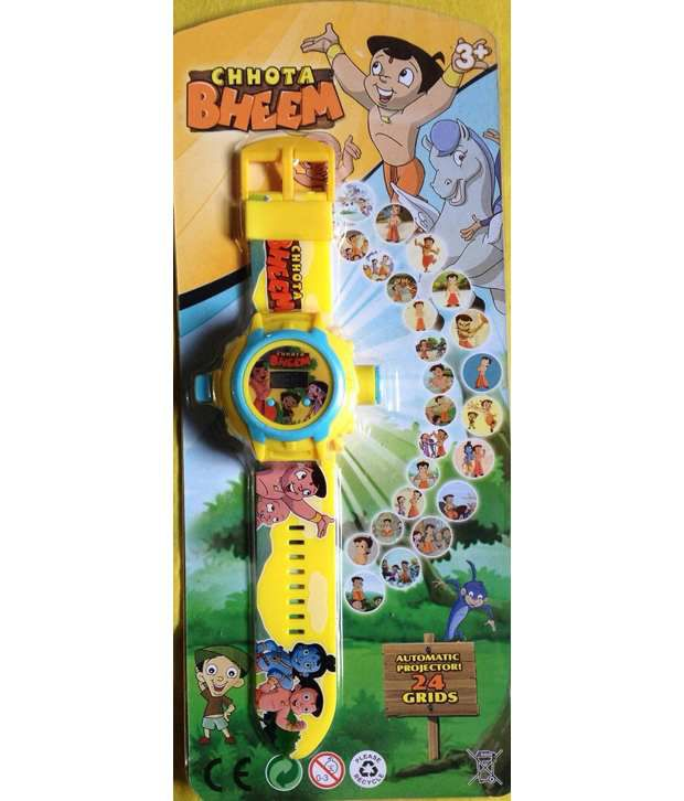 Chhota Bheem 24 Image Yellow Projector Watch with 1 Slap Watch Free