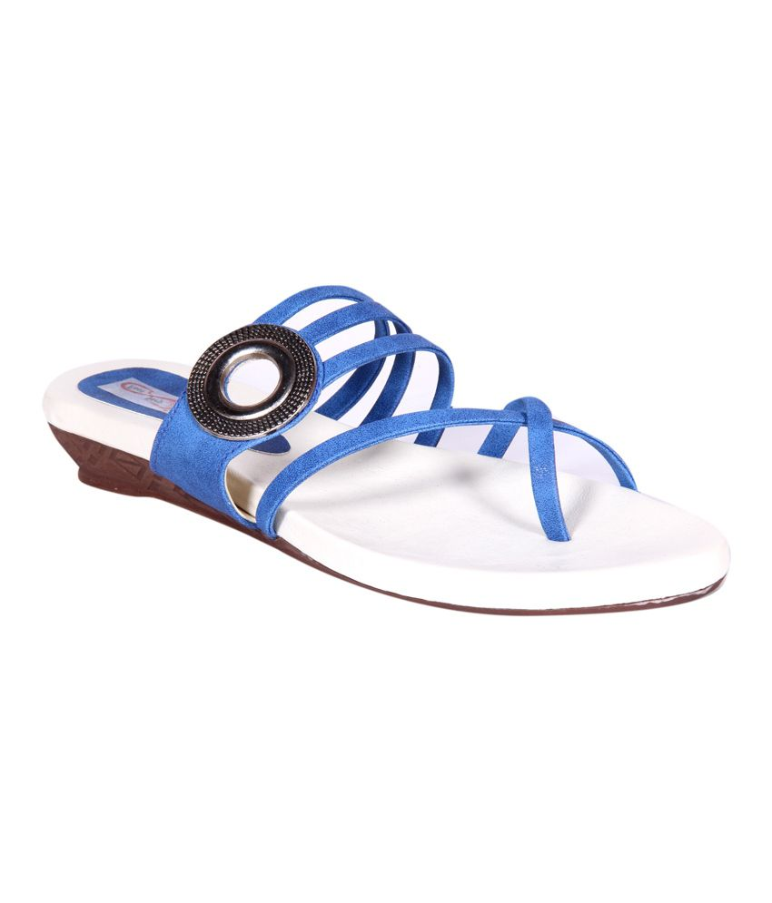 ba7bf453ccaf Foot Step Blue Faux Leather Back Open Round Toe Cross Strap Sandals Price  in India- Buy Foot Step Blue Faux Leather Back Open Round Toe Cross Strap  Sandals ...