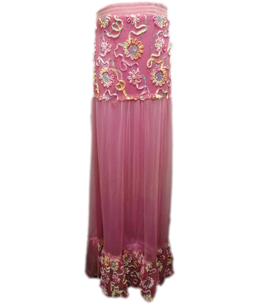 Threads Pink Silk Printed Skirt