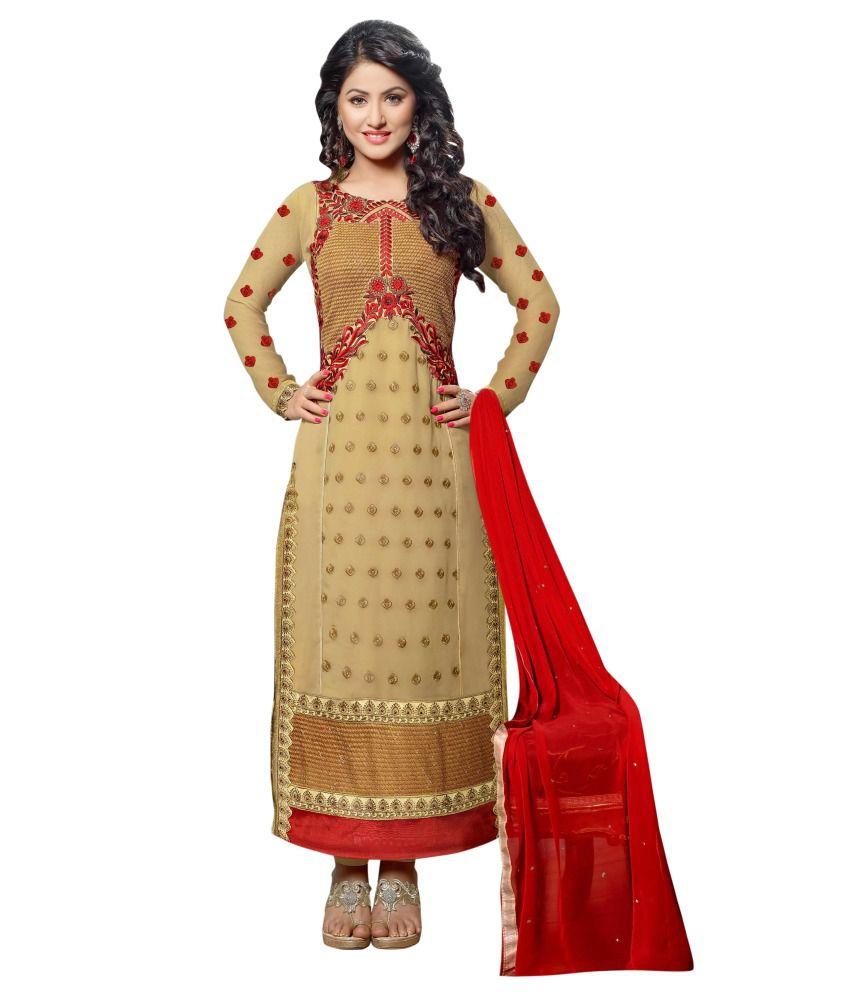 Vibes Yellow Designer Dress Material