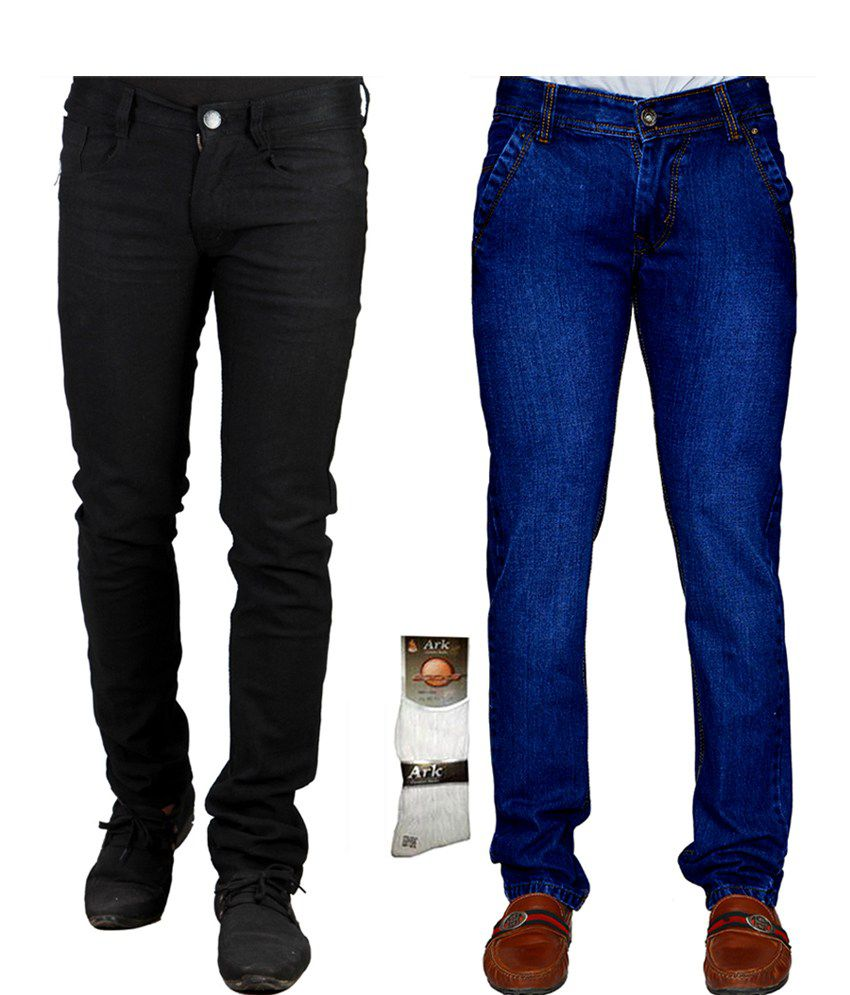 X Cross Multicolor Cotton Regular Fit Jeans For Men - Combo Of 2