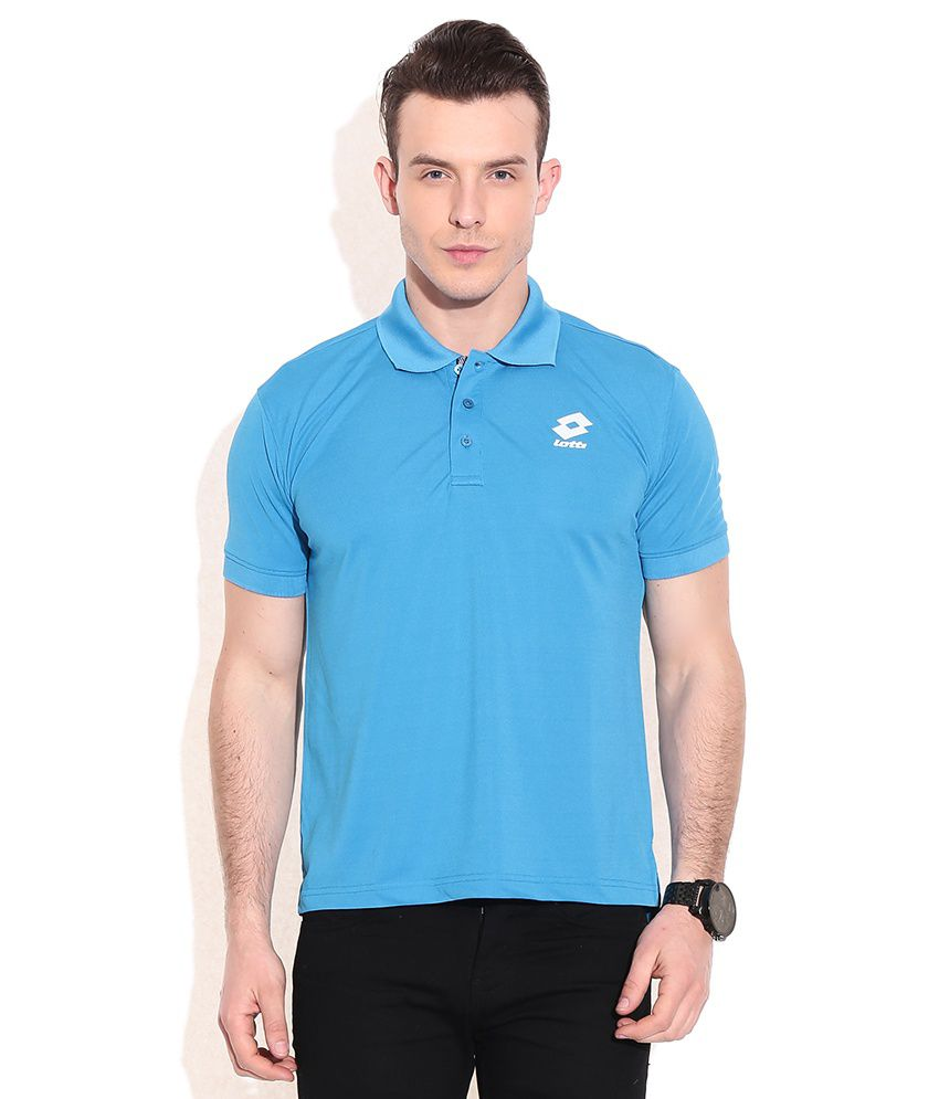 Lotto Blue Polyester Polo T-shirts