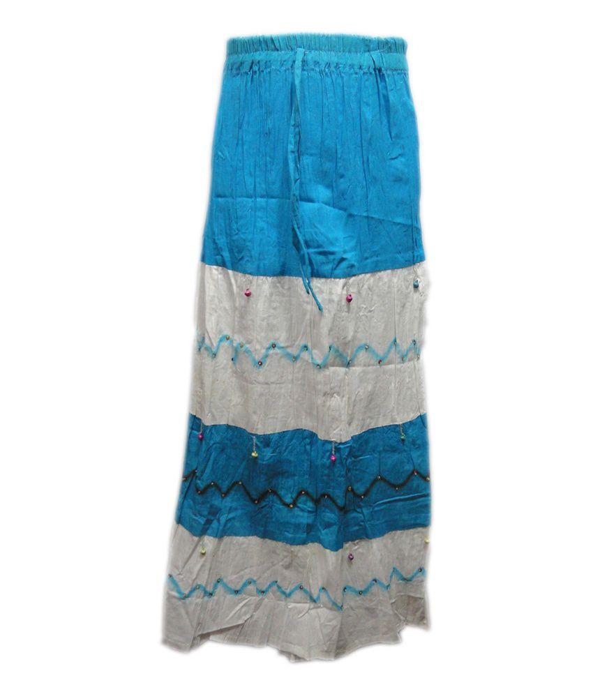 Threads Blue Silk Printed Skirt