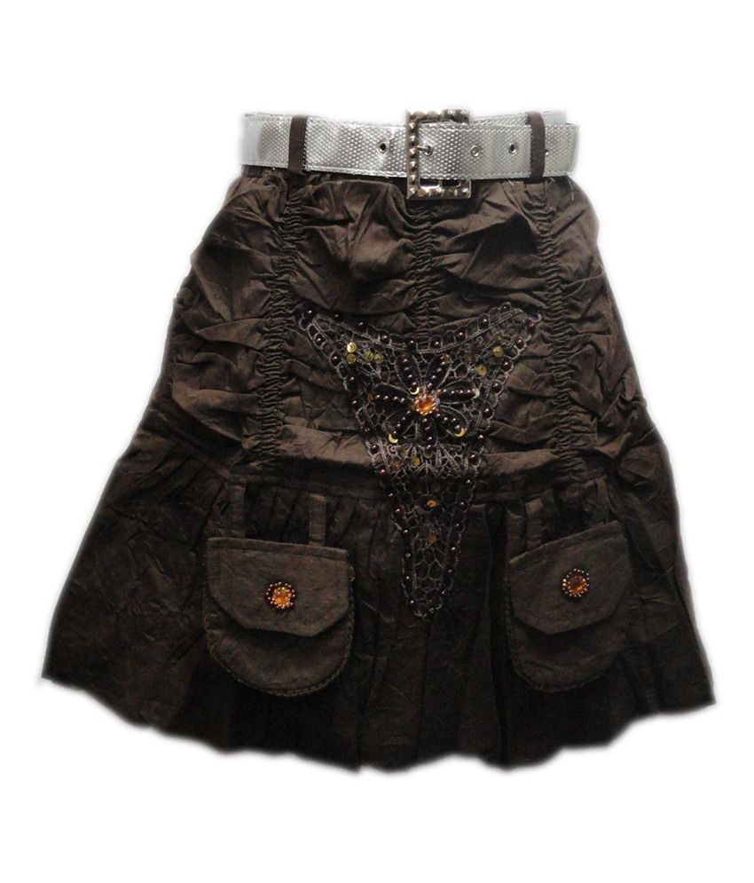 Threads Brown Cotton Printed Skirt