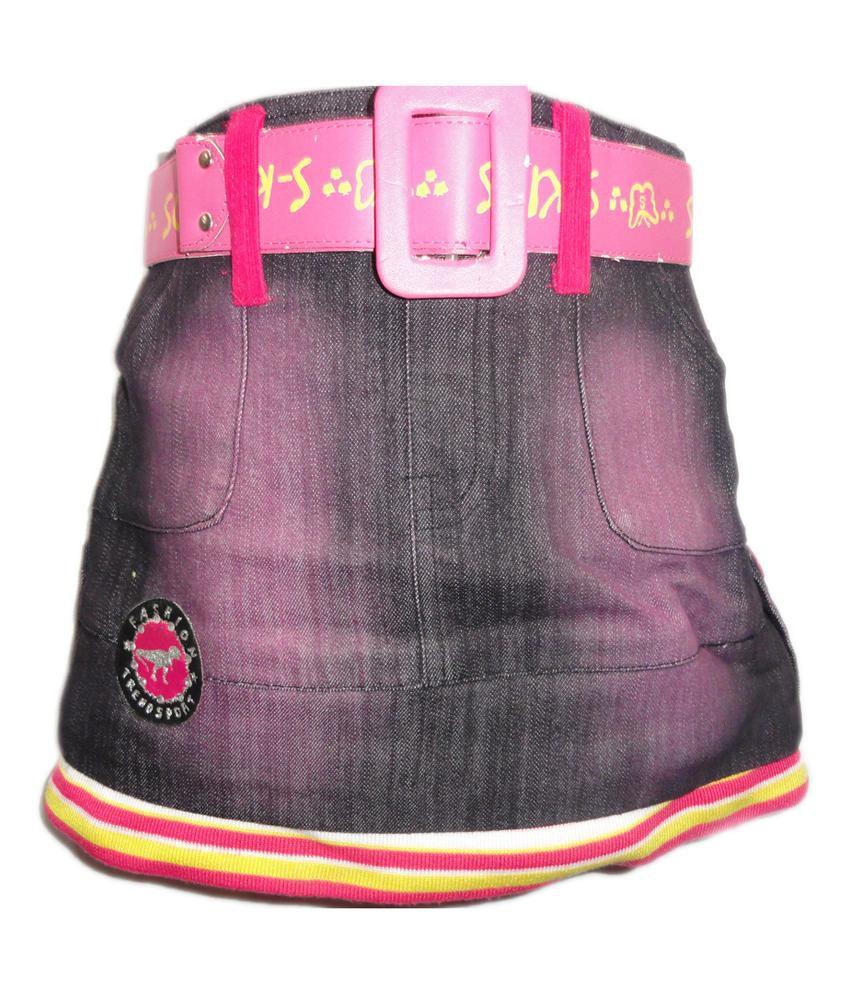 Threads Pink Denim Printed Skirt
