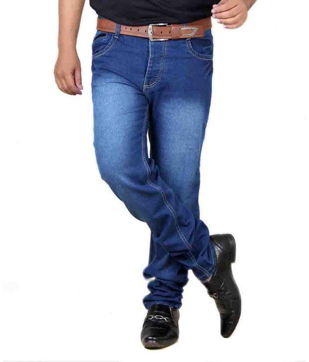 Acro Mens Trendy Strech Denim Jeans-blue
