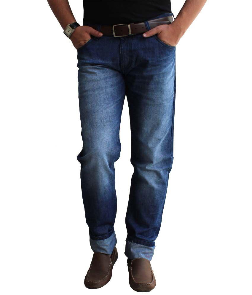 Alan Woods Blue Denim-Faded Jeans