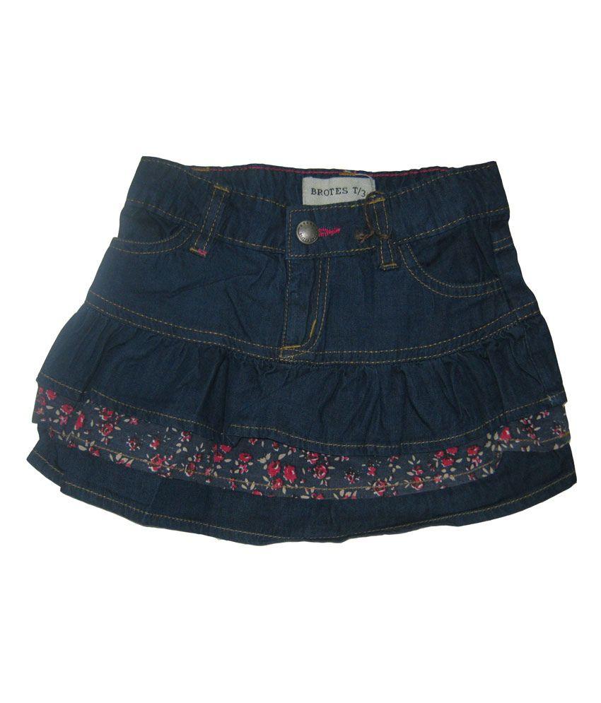 Carmino Casuals Navy Denim Girls Skirt