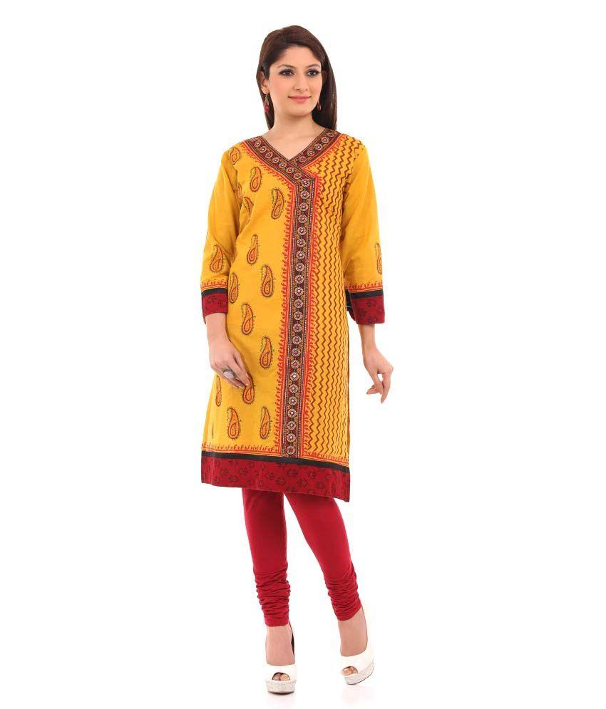 Chhabra 555 Fashion Cotton Embroidered V-neck Kurti