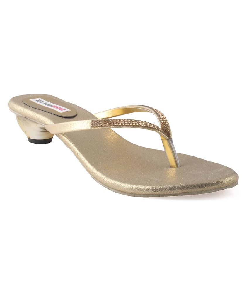 Pink Fever Gold Faux Leather Heeled Slip On