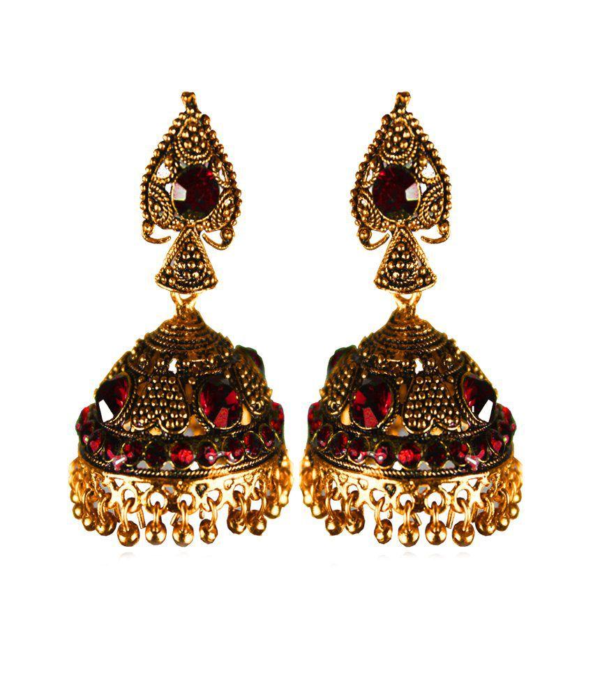 Pratami Ethnic Precious Pearl Gold Plated Jhumki Earrings