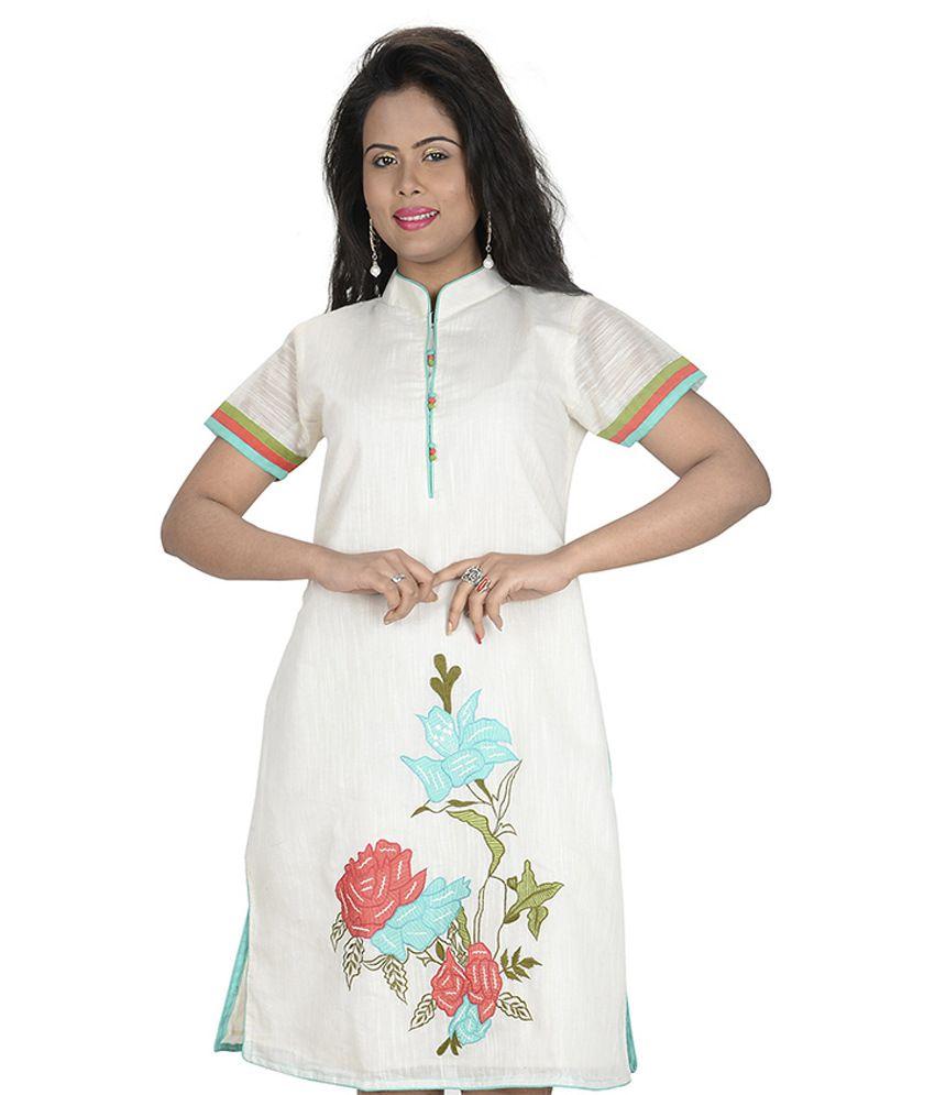 Sati Ghostwhite Embroidered Cotton Medium Kurti