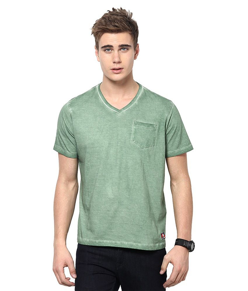 American Swan Green Cotton V-neck T-shirt