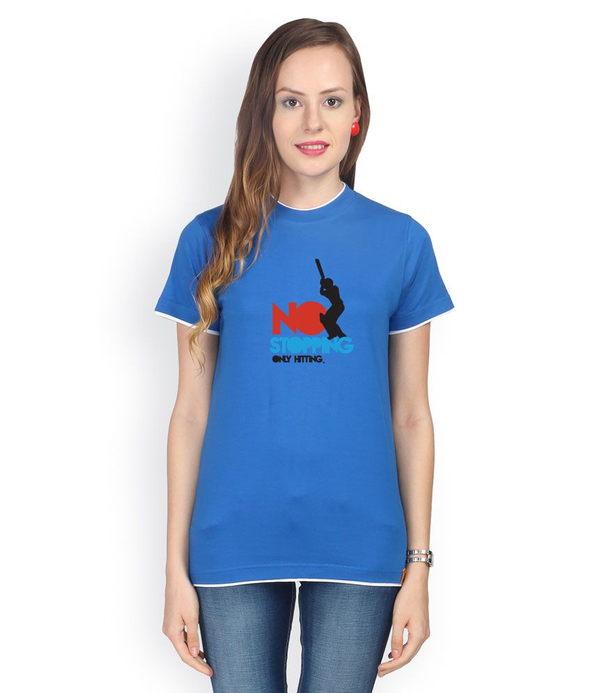 Campus Sutra Blue Cotton Tees