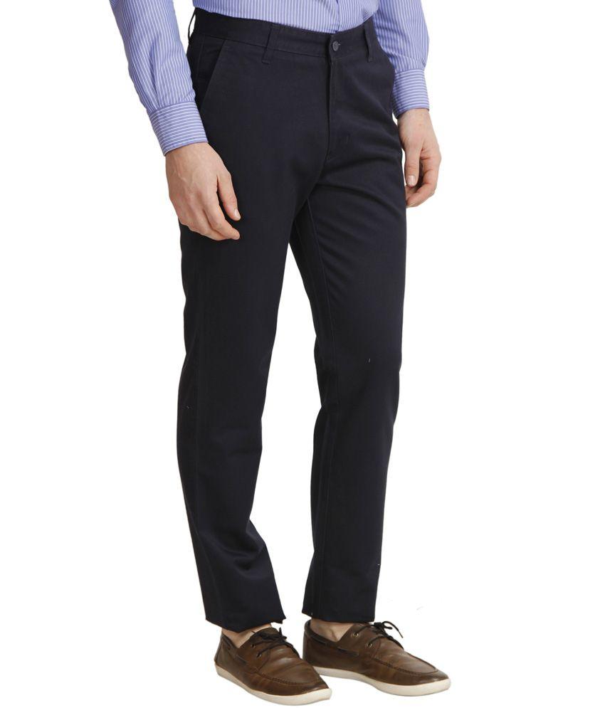 Cantabil Navy Cotton Casuals Men's Trouser