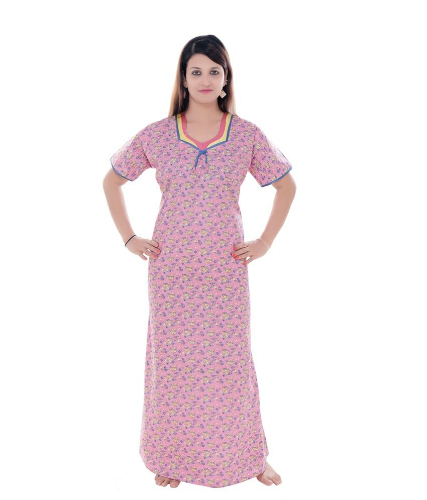 Mint Pink Cotton Nighty