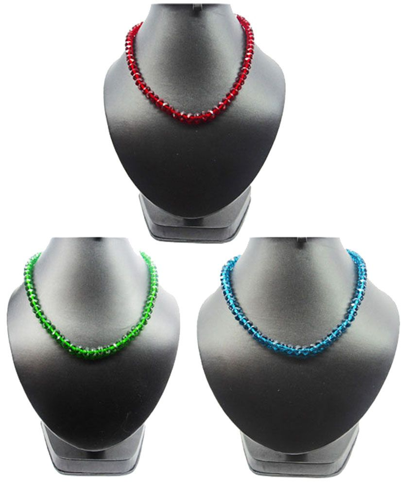 Bling N Beads Multicolor Red Green Blue Crystal Necklace combo set of 3 Gift for her