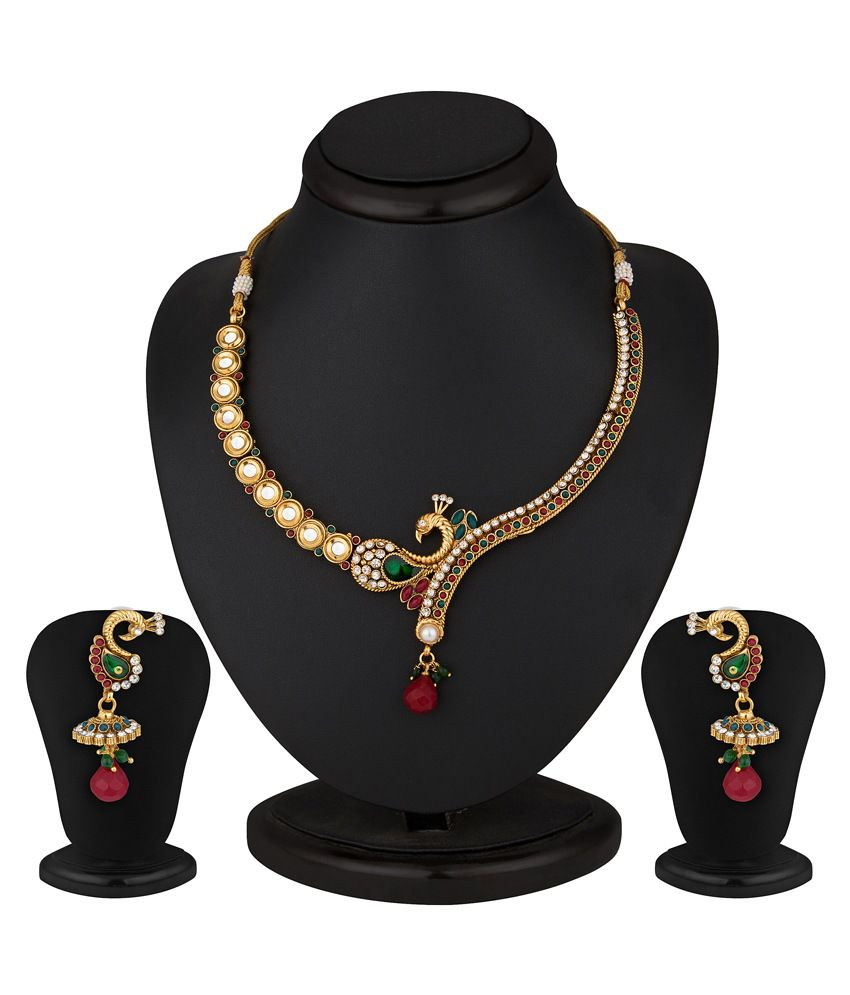 e90c9bd984 Sukkhi Peacock Gold Plated Kundan Necklace Set - Buy Sukkhi Peacock Gold  Plated Kundan Necklace Set Online at Best Prices in India on Snapdeal