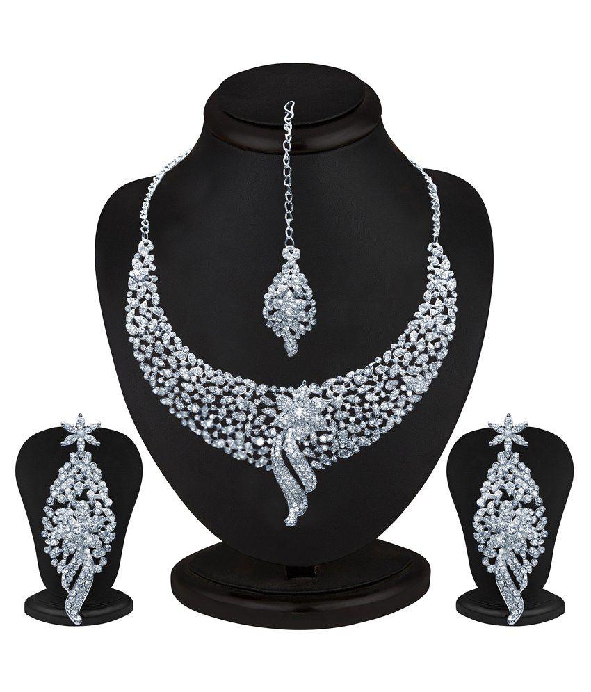 Sukkhi Zinc Silver Plated Australian Diamond Studded Necklace Set