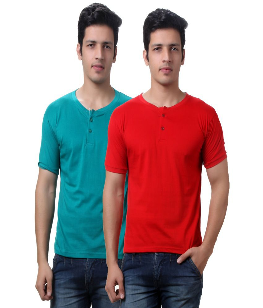 Teemoods Pack Of Two Men's Henley Tshirts