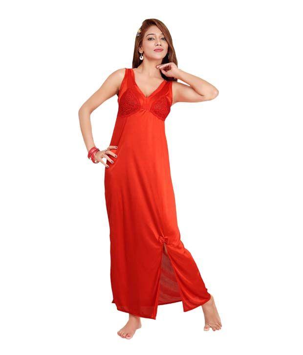 Teleno Orange Silk Nightsuit Sets Pack of 2