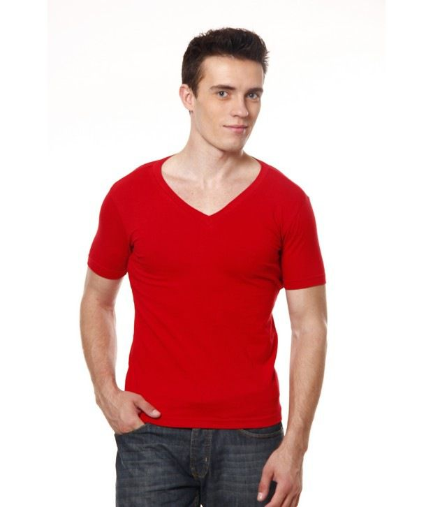 Casual Tees Red V-Neck T-Shirt
