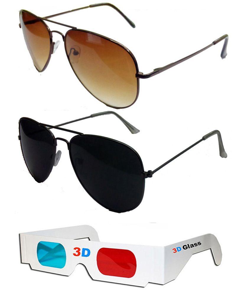 Hrinkar Aviator Sunglasses Brown Frame Brown Lens with Av...