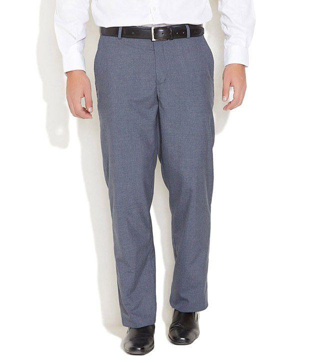 John Players Medium Blue Checked Trousers