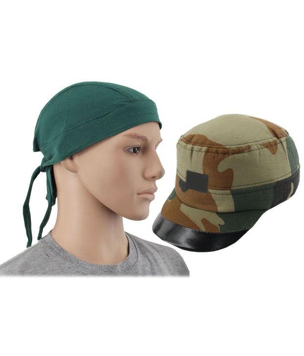 Jstarmart Go Green Headwrap With Camando Cap