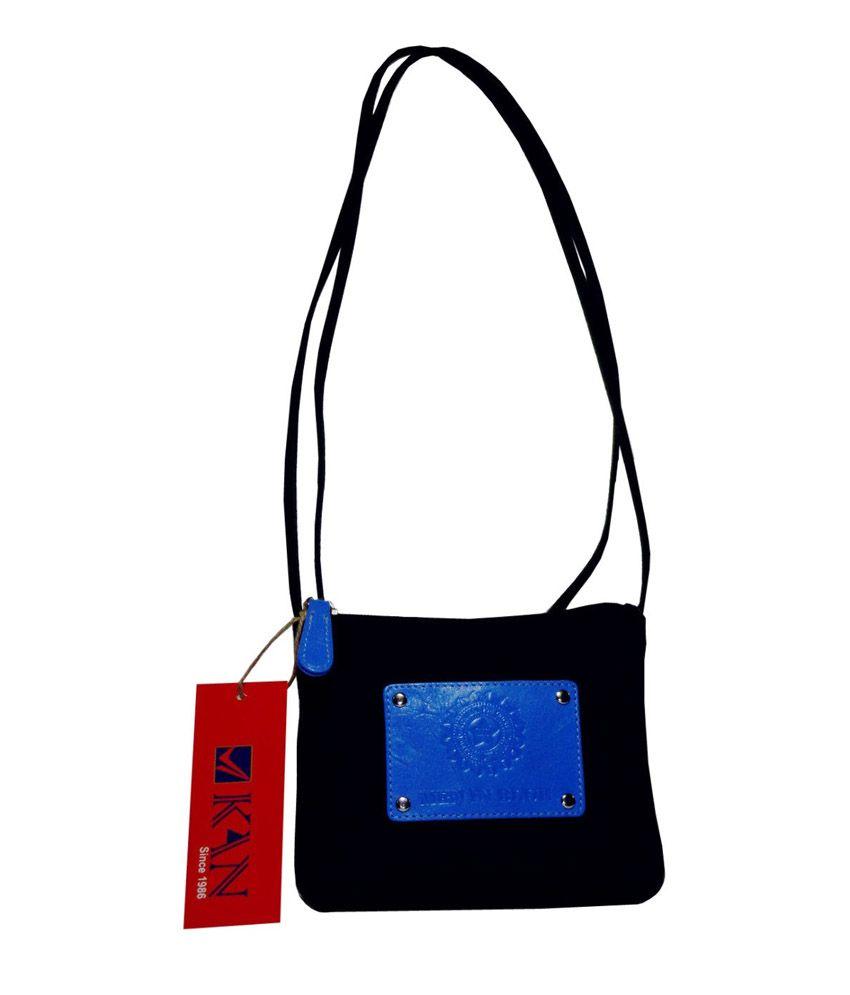 Kan Black Genuine leather Sling bag for Girls - Buy Kan Black ...