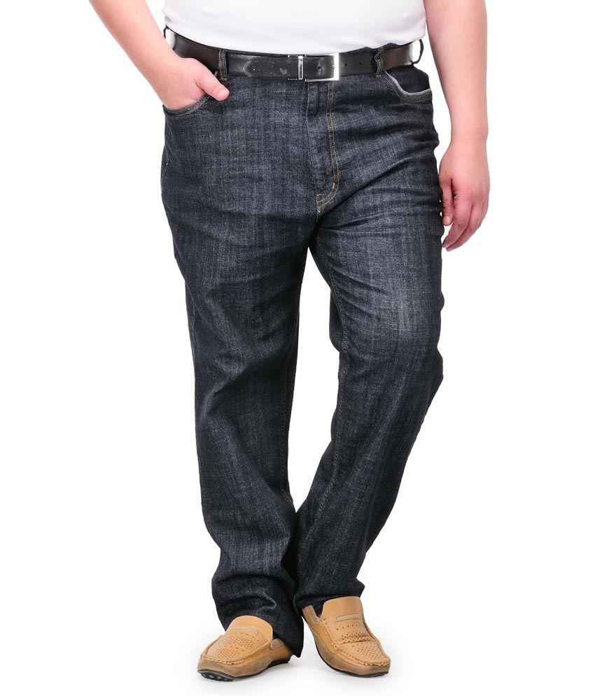 Pluss Black Cotton Regular Jeans