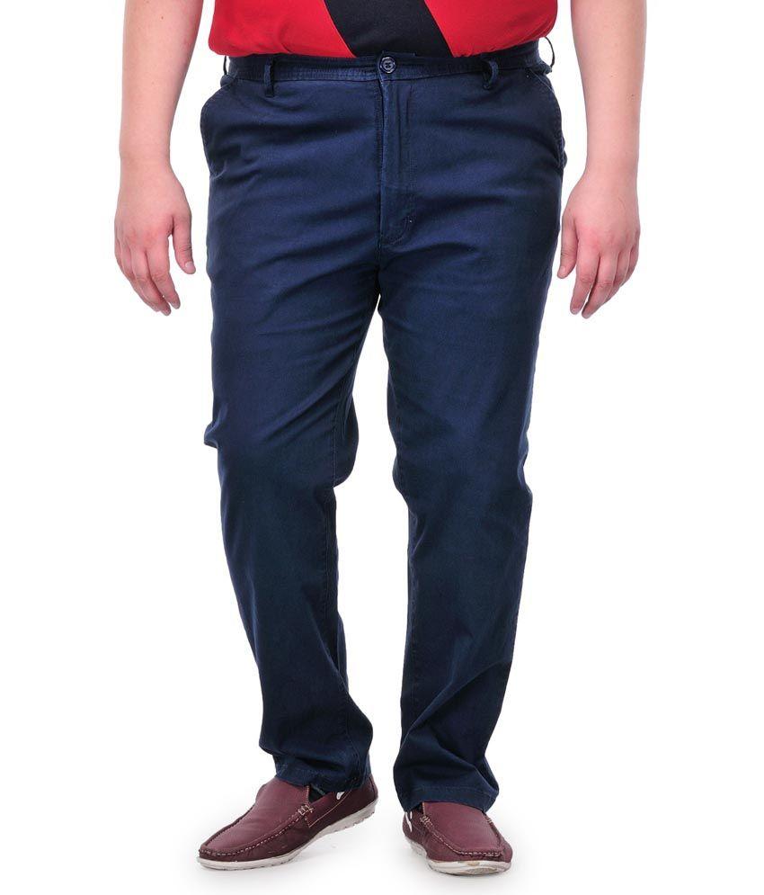 Pluss Navy Cotton Regular Casual Trouser
