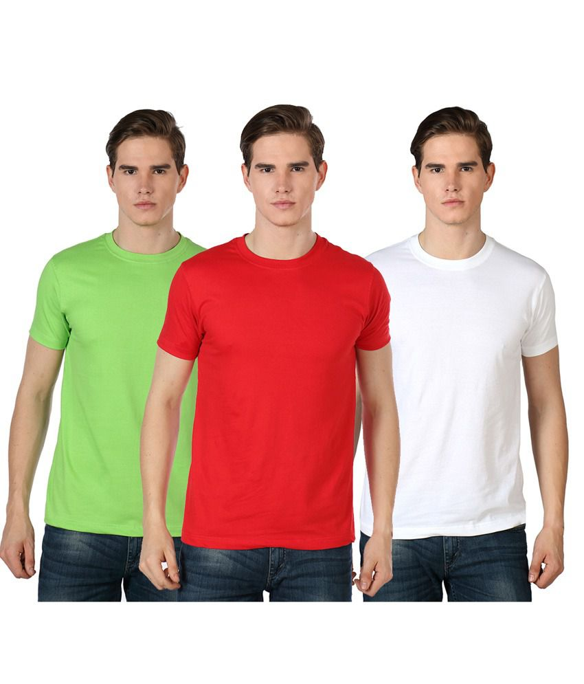 Summer Hues Multicolour Cotton Round Neck Half Sleeves T-shirt - Pack Of 3
