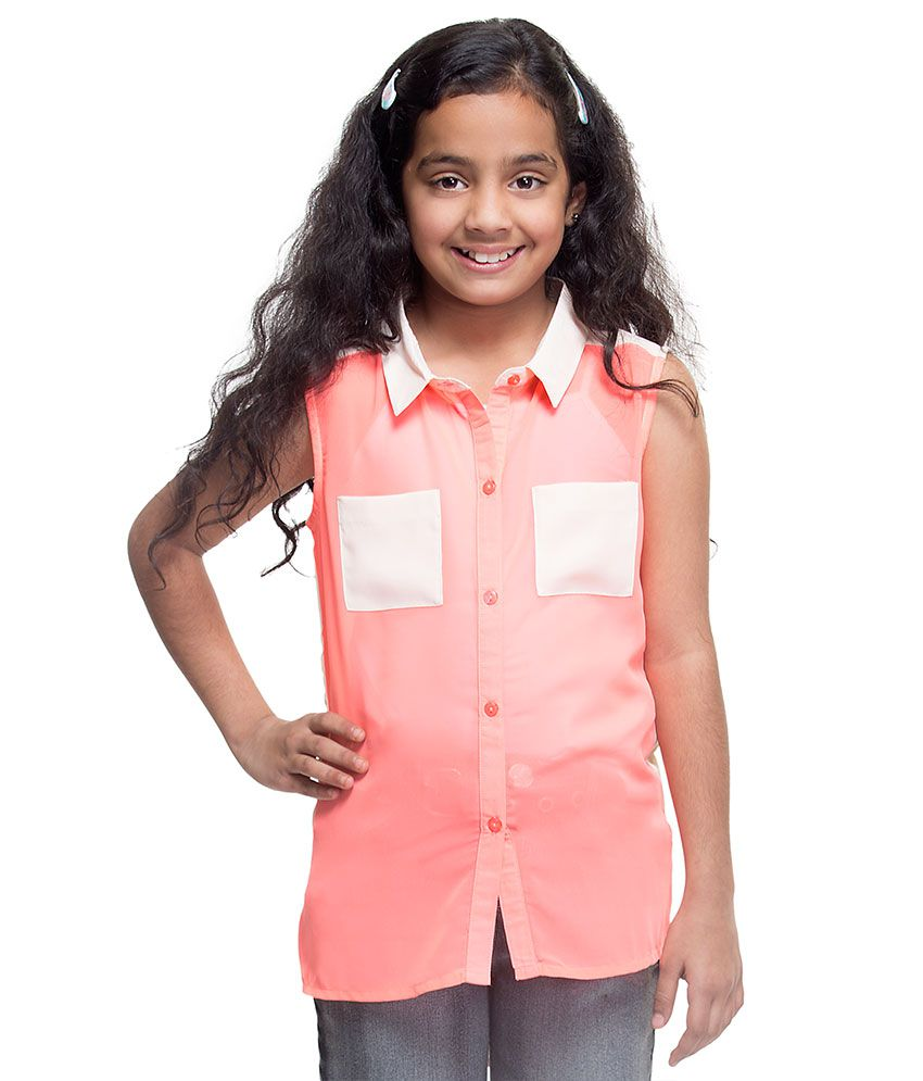 Oxolloxo Pink Synthetic Solids Sleeveless Collared Shirt Buy