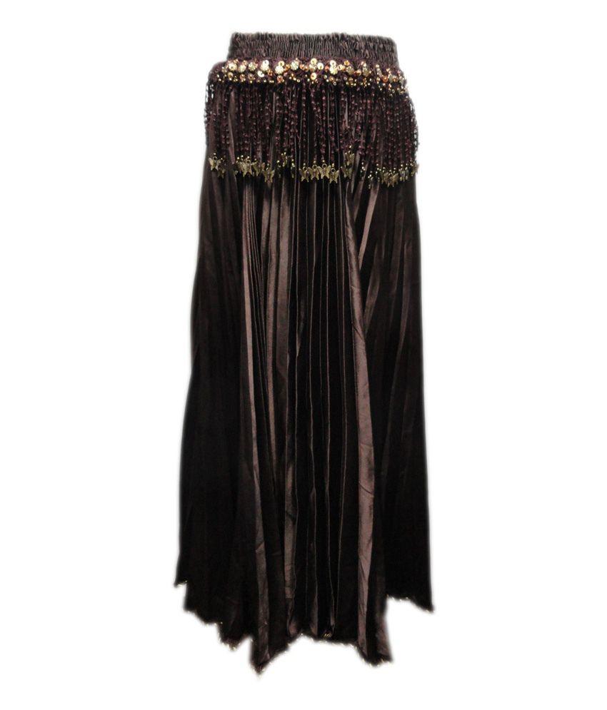 Threads Brown Silk Printed Skirt