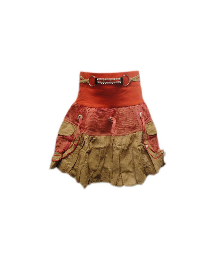 Threads Orange Cotton Printed Skirt