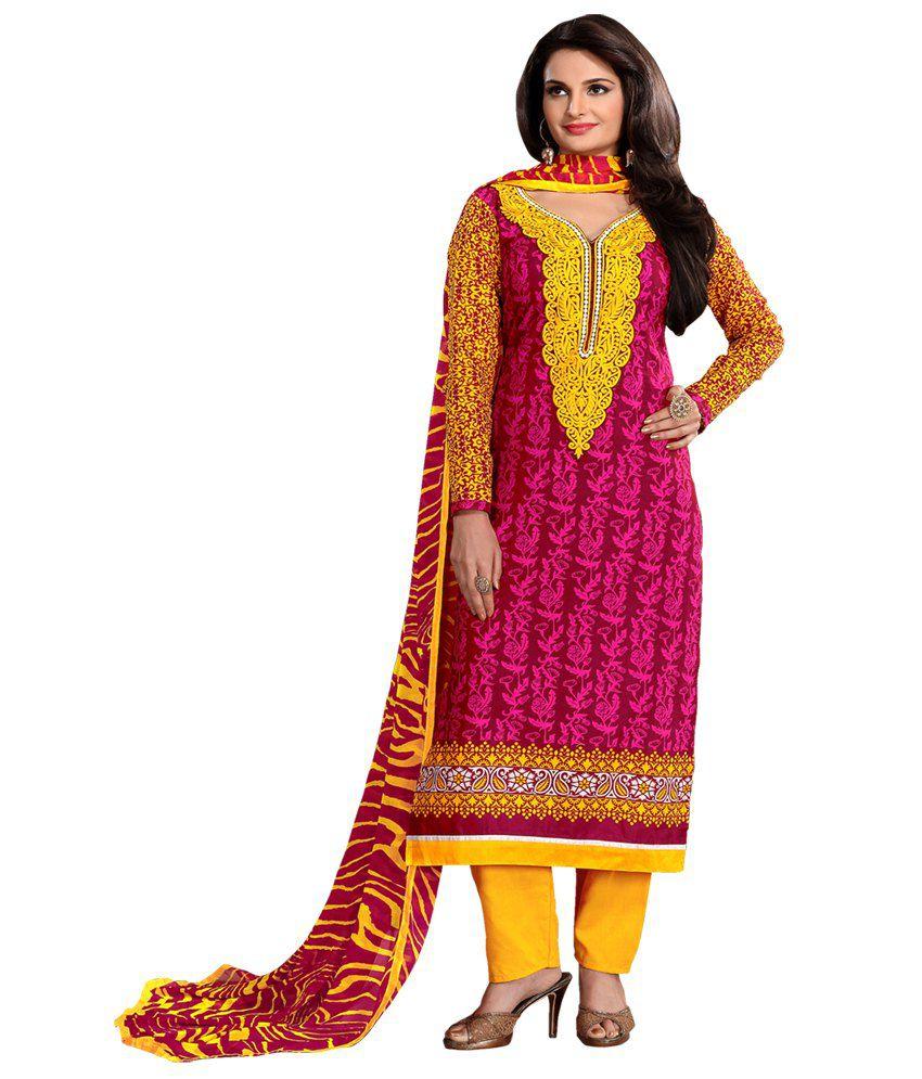 Prafful Pink Cotton Unstitched Dress Material