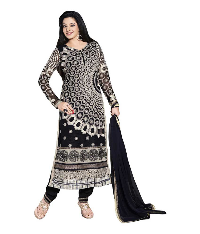Queen's Black Pure Georgette Embroidered A-line Dress Material with Dupatta